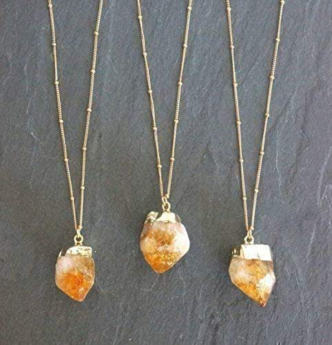 Master Manifestation Gold Aura Pendant:  Crystals And Clay with Citrine Gold  Plated beads /& Chain Abundance Crystal Healing #326