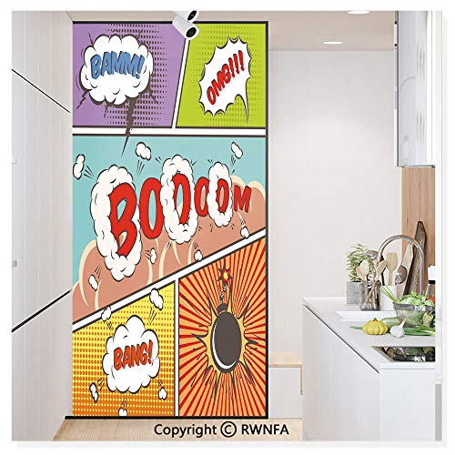 Decorative Window Films Kitchen Glass Sticker Retro Comic Strip Speech Bubbles Funny Pop Art Stylized Vintage Hobby Style Image Waterproof Anti-UV for Home and Office 11.8