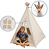 Indoor TeePee Tent - 6 Foot Tall Classic Indian Play Tent for Kids with Five Wood Poles and Carry Bag - Five-Sided Walls with Door, Window and Floor