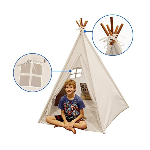 EasyGoProducts-Indoor-Tee-Pee-Tent–Play-Teepee-Tent-for-Kids-with-Five-Wood-Poles-and-Carry-Bag–Five-Sided-Walls-with-Door-Window-and-Floor