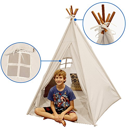 Indoor TeePee Tent – 6 Foot Tall Classic Indian Play Tent for Kids with Five Wood Poles and Carry Bag – Five-Sided Walls with Door, Window and Floor - Kids Play Tent Indoor