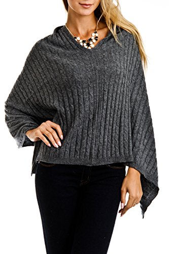 (Cashmere Cable knit Poncho)