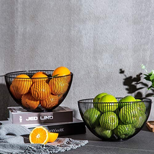 Green Veggies Fruit Bowl for Living Room Kitchen Countertop Centerpiece FEOOWV Mesh Fruit Basket with Lid