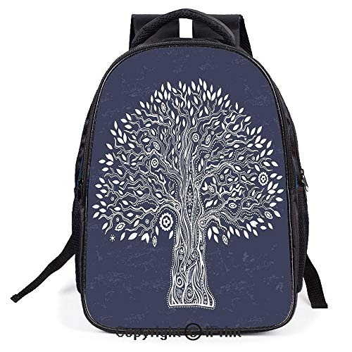 School Bag,Unique Ethnic Tree Illustration Pure and Noble in Majestic Mother Nature,Suitable for Kids,School Backpack,Travel Hiking Bag Backpack