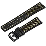NEW 22MM Shark Black Yellow Genuine Cowhide Leather Sport Military Army Watch Strap Band WTL052