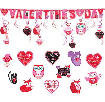 Valentine Decorations - Complete Set of Hanging Swirls, Bulletin Board Cutouts and Banner - Fun for Kids on Valentine's Day by Live It Up! Party SuppliesTM