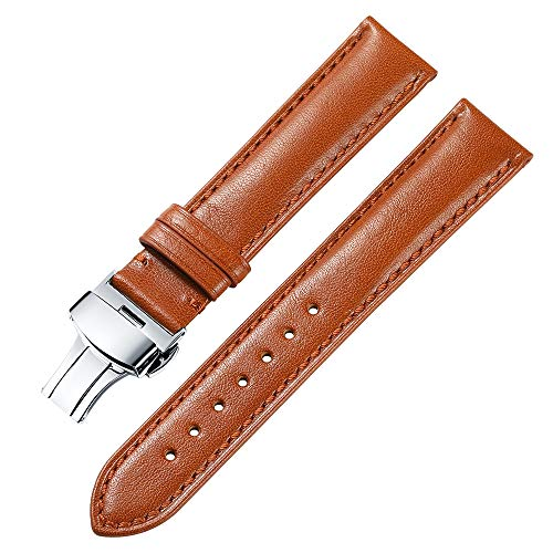 iStrap 18 19 20 21 22mm Genuine Leather Watch Band Padded Calfskin Strap Steel Butterfly Deployant Clasp Super Soft(Six Color -