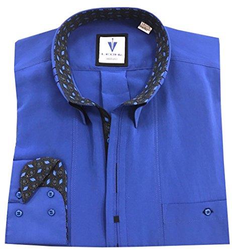 Leché Designerhemd langarm in Blau mit schwarzen Akzenten auf der Knopfleiste