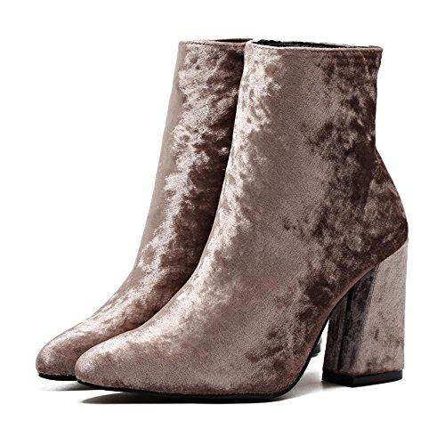talons bottes Robe hauts mxx Casual Gold 38 LvYuan Carrière et pointe velours PINK pointu Talon chaussures courtes Femmes Chunky à Bureau wEqOTf7