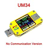 USB 3.0 Type- C Color LCD Display Tester Voltage Current Meter Voltmeter Ammeter Battery Charge Cable Impedance Resistance Measurement Communication Version (UM34)