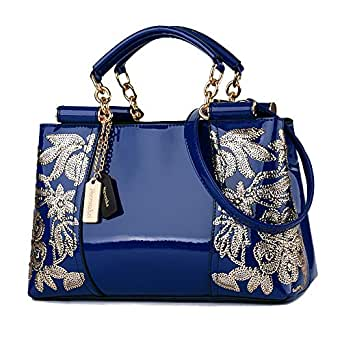 Nevenka Luxury Evening Bag Embroidered Handbag Patent Leather Tote Bag Top Handle Shoulder Bags for Women (Blue)