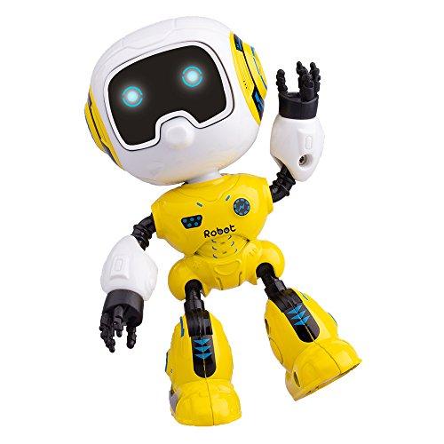 Yikou Mini Robot Kids, Mini Robot Toy Metal Smart Robot Music LED Light Gesture Sensing Robotics Kids Age 3 up, Yellow - Yellow Robot