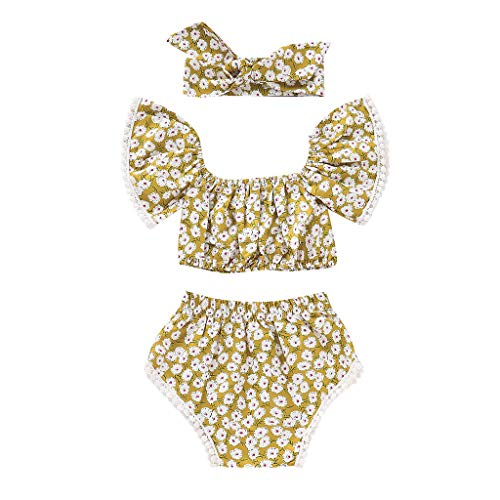 3Piece Toddler Kids Baby Girl Outfits Set,Floral Print Tassels Bandeau Ruffle Sleeve Crop Top Shorts Headband Clothes Suit Yellow