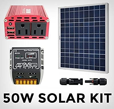 Solar Generator Starter Kit - Green Energy System 50W Panel Off Grid / 300W Dual Outlet 110V 120V Inverter / 20A Controller