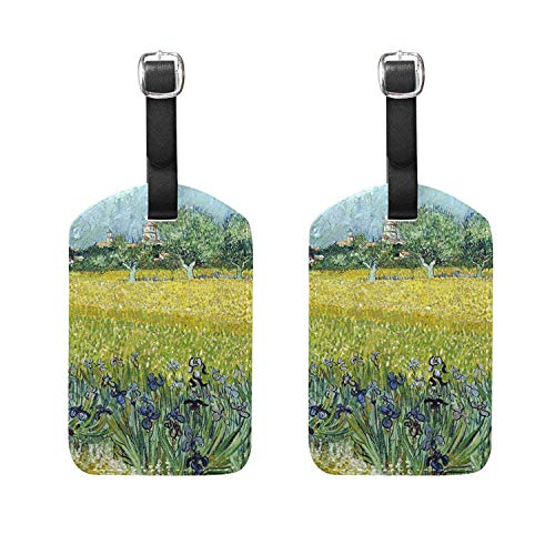 Set of 2 Luggage Tags Monet Garden Flower Tree Suitcase Label Travel Accessories