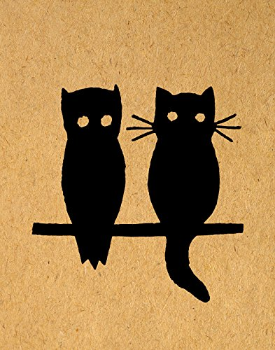 Cute Owl And Cat Silhouette Wall Art Print Vintage Animal Illustration Poster Or With A
