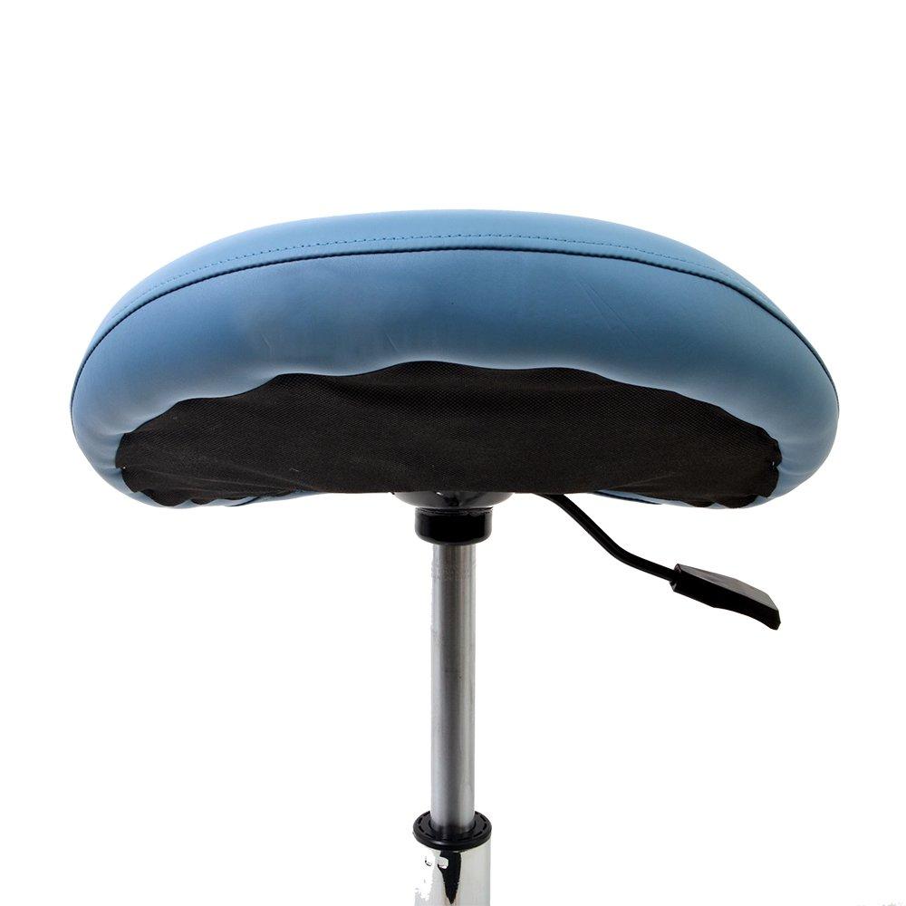 Promafit Sattelhocker Sattelstuhl mit Gummirollen für für für Alle Böden und Metallfuß - ergonomisch - stufenlos Höhenverstellbar - Viele Farben - 360° Drehbar (Weiß, Ohne Fußring) a0a667