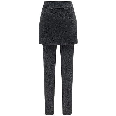 Mujer Leggins con Falda Gruesa Elástica Térmicos Pantalón Cálido ...
