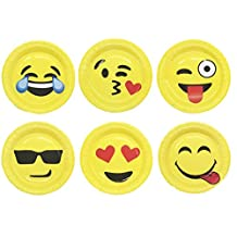 9'' Emoji Paper Party Plates 30Pcs/set, KOOTIPS Includes Top 6 Most Popular Emojis | Perfect for Birthdays, Parties, Crafts, Prizes, and Games