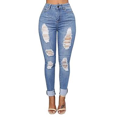 Damen Hosen Sommer LHWY Frauen Zerrissen Denim Jeans Löcher Lang Hosen Slim  Stretch Skinny Hose High 72dbb9e20f
