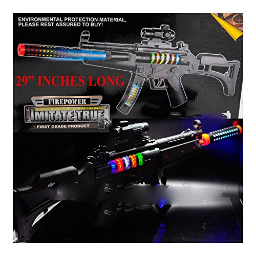 BIG LED Light Up Assault Rifle Toy Machine Gun Moving Barrel Tommy Pistol from Unbranded
