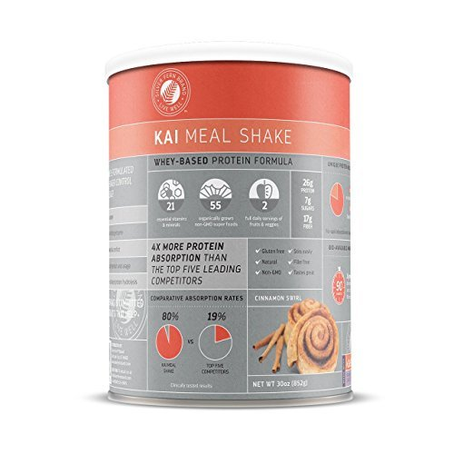Kai Whey Based Meal Replacement Shake Powder: Cinnamon Swirl - 1 Canister - Powdered Natural Protein Mix - Hunger Control, Energy, Diet Weight Loss, Prebiotic Fiber, Superfoods by Silver (Fern Swirl)