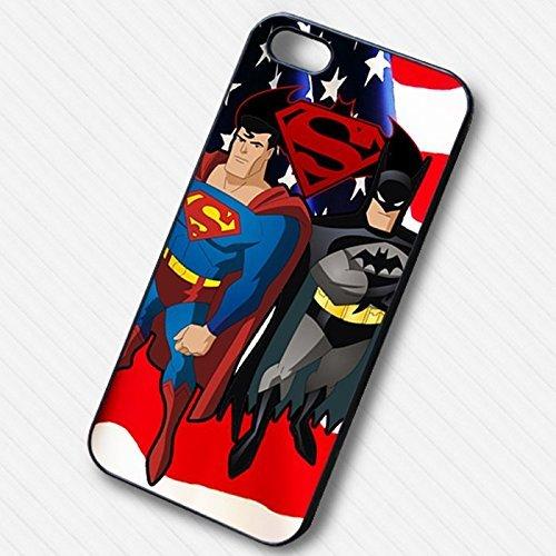 Superman Batman American Heroes pour Coque Iphone 6 et Coque Iphone 6s Case (Noir Boîtier en plastique dur) F8I6HV