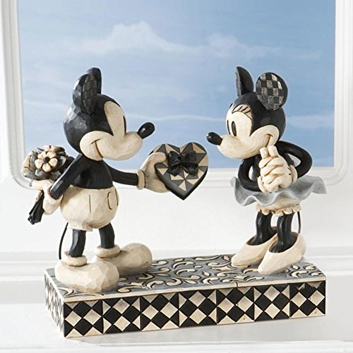 "Mouse Disney Minnie Mickey (Disney Traditions by Jim Shore Black & White Mickey & Minnie Mouse Stone Resin Figurine, 6"")"