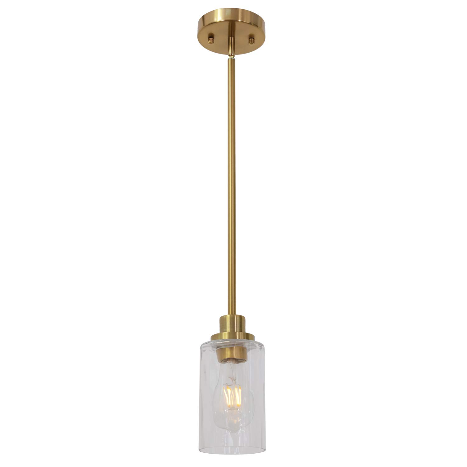 TODOLUZ 1 Light Kitchen Island Lighting Brushed Brass Contemporary Pendant Light with Clear Cylinder Glass for Dining Room Kitchen Bedroom