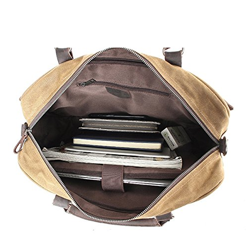 Document Bag Oil Shoulder Men's Wax Men Canvas Khaki Vintage Official Business Crossbody v7dqwxHd