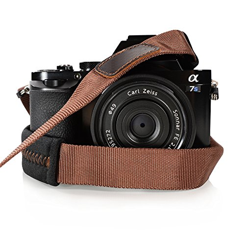 Foto&Tech Padded Neck Shoulder Strap with Brown Grosgrain Ties Compatible with Fujifilm Samsung Sony Olympus Panasonic Canon Nikon Pentax Compact Cameras Point and Shoots Cameras