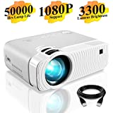 "DracoLight 3300 Lumens Mini Portable Projector, Ideal 180"" Display 50000 Hours Lamp Life LED Video Projector Support 1080P, Compatible with USB/HD/SD/AV/VGA for Home Theater (White)"