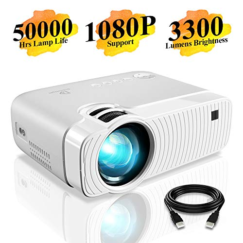 """Mini Projector, DracoLight 3300 Lumens Portable Projector Ideal 180"""" Display 50000 Hours Lamp Life LED Video Projector Support 1080P, Compatible with USB/HD/SD/AV/VGA for Home Theater (White)"""