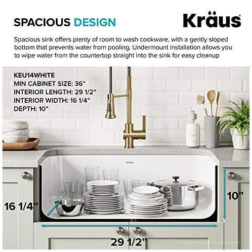 Kitchen Kraus KEU-14WHITE Pintura 16 Gauge Undermount Single Bowl Enameled Stainless Steel Kitchen Sink, 31 1/2-inch, White modern kitchen sinks