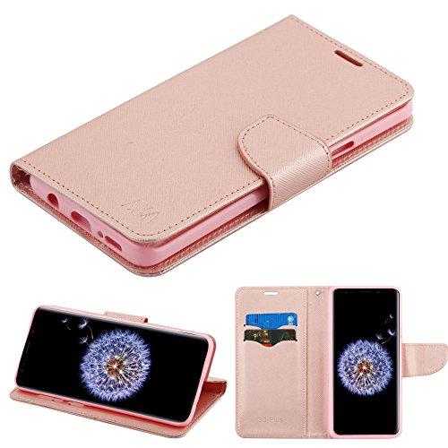 Case+Stylus PU Leather Wallet Fits Samsung Galaxy S9 Plus G9639 MYBAT MyJacket Rose Gold Pattern/Rose Gold Liner Mybat MyJacket Wallet (with Card ()