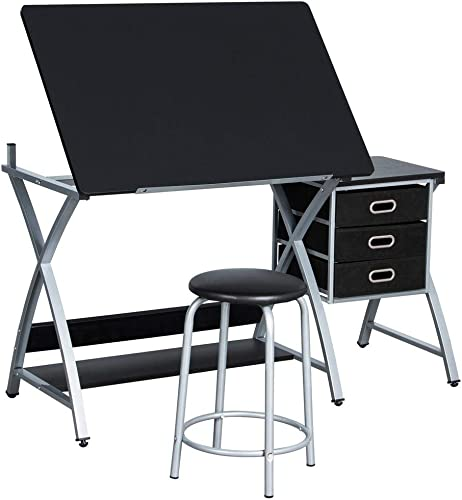 Yaheetech Adjustable Folding Drafting Drawing Draft Art Craft Table Desk with Stool and Storage Drawers Art Studio Design Craft Station