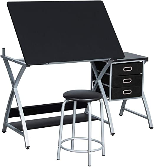 Tiltable Drawing Board Table Art Craft Adjustable Drafting Desk with Stool Set
