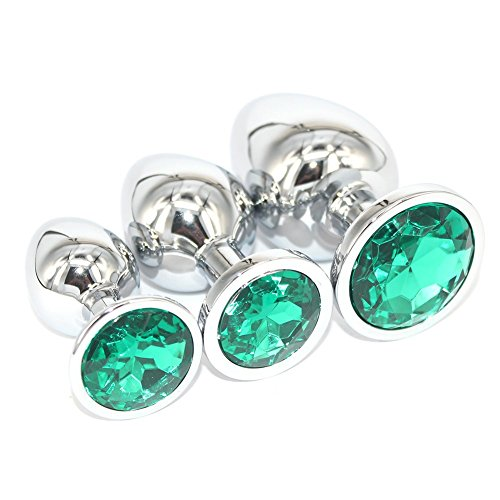 WSSQLN 3PCS gemstone Jeweled Beginners Butt Plug Anal Stimulation Anal Plug Fetish Bondage Personal Massager Jewel Fetish BDSM Toys For Women Men(green)