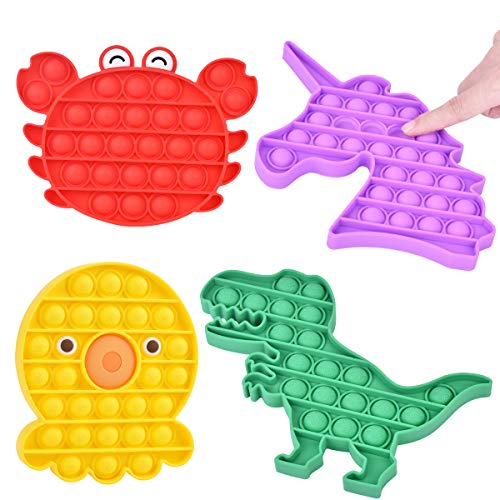 Office Desk Organizer Silicone Squeeze Toy Adult Stress Anxiety Reliever Autism Special Needs STEM Education Rainbow Round Sensory Push Pop 2 Pack Fidget Figetget Toy for Kids Motor Training