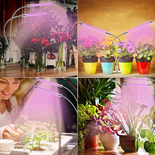 Plant Growing Light, Rosybeat 45W Dual Head Cycle Timing Grow Light for Indoor Plants with Remote Control, Adjustable Gooseneck 90 LEDs Full Spectrum Dimmable Growing Lamps