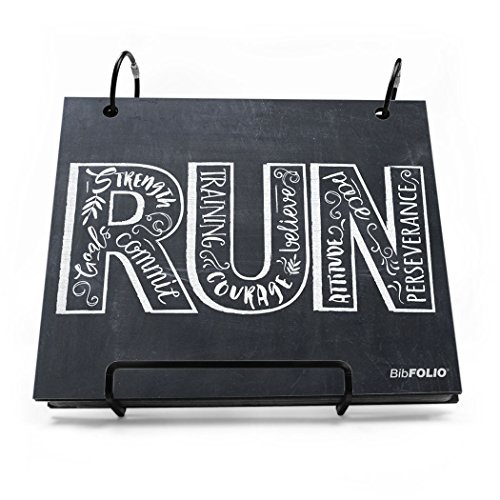 Gone For a Run Running BibFOLIO | Runner's Race Bib Holder and Album| Chalkboard Inspire to Run | Black/White