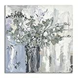 Contemporary Canvas Wall Art, Textured, Hand Embellished Giclee on Canvas, Ready to Hang, Deann Art, HEAL THROUGH HOPE, floral, eucalyptus (12x12)