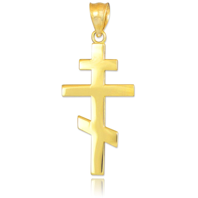 quilates  Oro rusa ortodoxa Cruz Colgante collar Libro Con Cadena cm