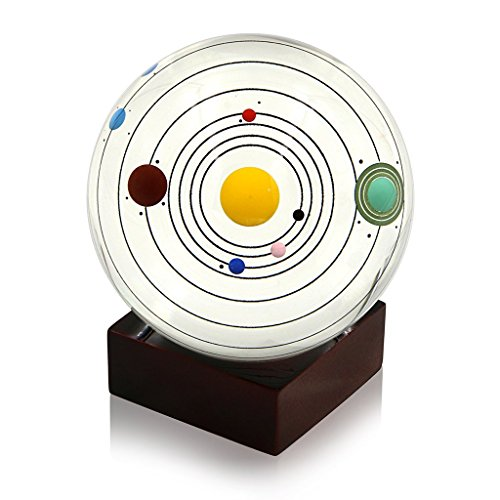 HiCat Clear Crystal Ball 80mm Solar System Crystal Ball with Stand Shows All Eight Planets- Farther's Day Gift