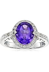 Sterling Silver African Amethyst and White Topaz Halo Ring, Size 7