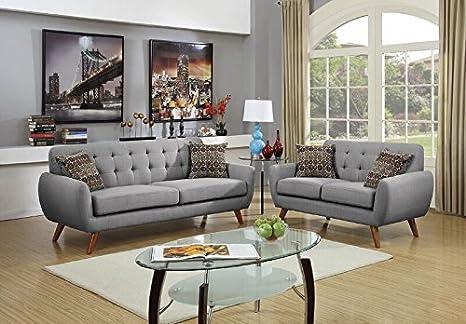 Superb Poundex F6912 Bobkona Sonya Linen Like 2 Piece Sofa And Loveseat Set Grey Creativecarmelina Interior Chair Design Creativecarmelinacom