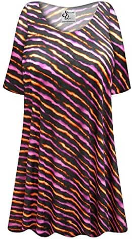 Orange/Purple Lines Plus Size Supersize Rayon/Spandex Extra Long T-Shirt