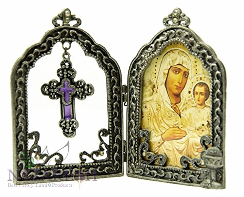 Virgin Mary With Baby Jesus Metal Icon Triptych Enamel Cross Open up Holy Land by Holy Land Gifts