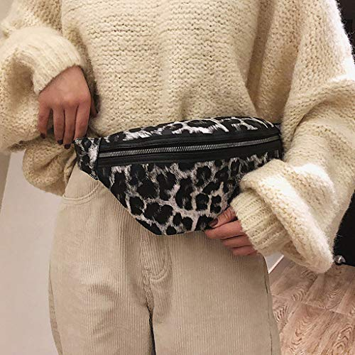 Donna Wh Bag Zipper Sport Lady Bag di borse leopardo Tote Neutro Cassa Outdoor Messenger Vita Vehom Pelle White 6q7WwTH