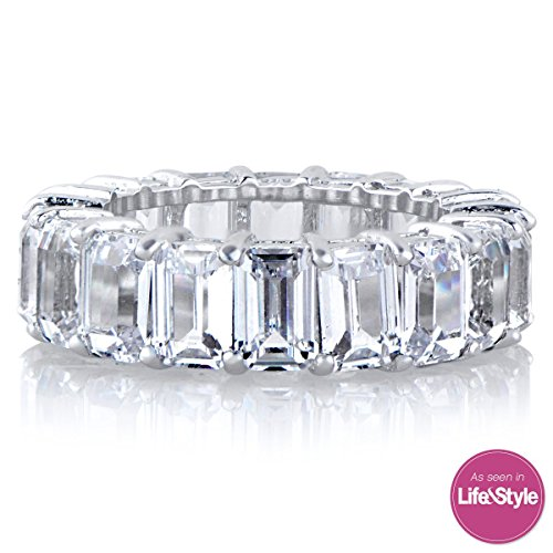 Platinum Band 6mm Wide Ring (Emerald Cut Eternity Band CZ Ring - Beautifully Crafted Eternity Ring with Emerald cut cz stones)